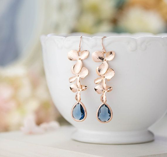 Rose Gold Earrings, Navy Blue Wedding Bridal Earrings, Bridesmaid Earrings, Orchid Flower Sapphire Blue Long Dangle Earrings, Christmas Gift