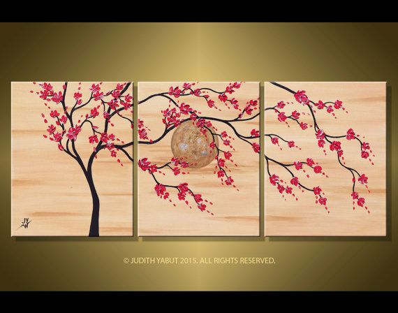 Red Cherry Blossom Tree over Moon Landscape Asian Zen by studiox26