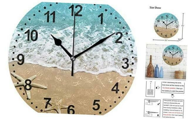 Bathroom Clock Seashell Decorative Wall Clock Non Ticking Silent Clocks For Livi Ebay In 2020 Bathroom Clock Large Digital Wall Clock Wall Clock