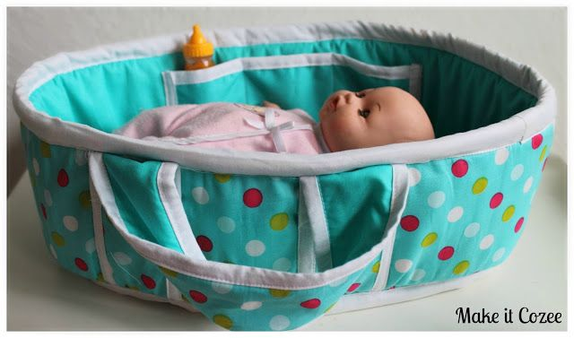 Baby Doll Bed ~ Comprehensive TUTORIAL showing how to make this fun, sturdy dolls's bed, complete with handles and pockets. ~ Make It Cozee