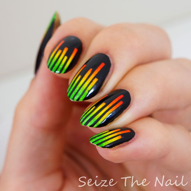 Nail Art Using Striping Tape: Nailart Using Striping Tape Over Ombré & Black Top Coat