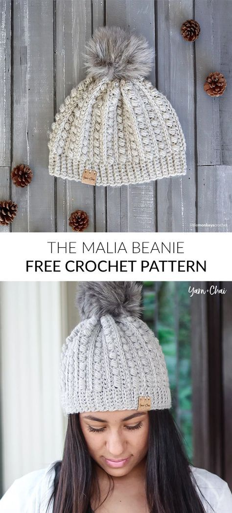 The Malia Beanie Free Crochet Pattern | Projects to Try | Pinterest ...
