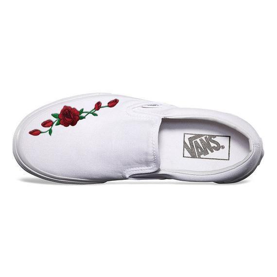 White Vans Slip-On Red Rose Custom Shoes Embroidery | Custom ...
