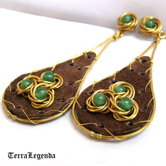 Royal Forest leather & chainmaille earrings, unique chainmaille jewelry with aventurine, brass, brown leather