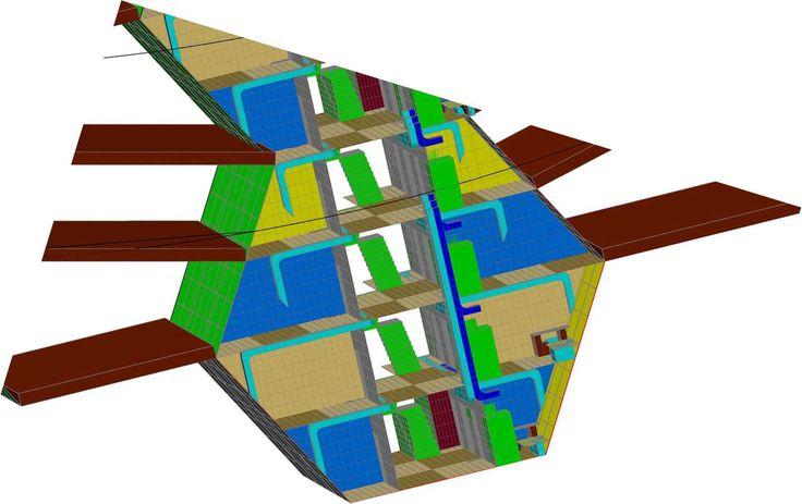 Przykładowy schemat zagospodarowania promieniowych modułów jako pomieszczeń hotelowych