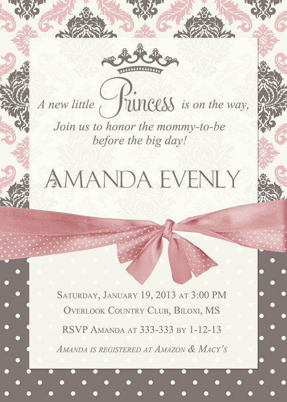Damask Princess Baby Shower Invitation  by PartyPopInvites on Etsy, $16.00
