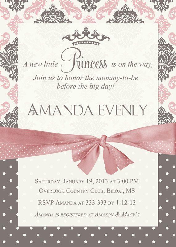 Damask Princess Baby Shower Invitation  by PartyPopInvites on Etsy, $16.00