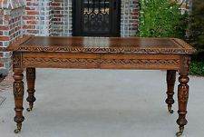 Antique English Carved Oak Renaissance Library Office Desk Conference Table 1870