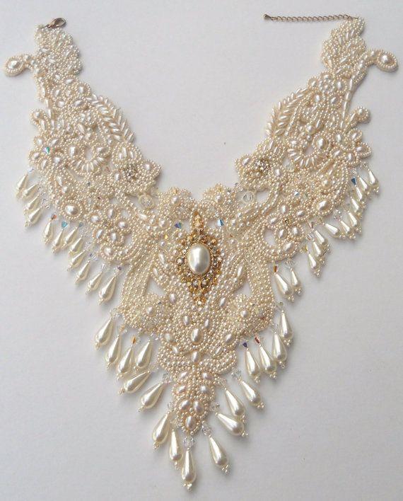 Ivory Blush Bridal statment Neck piece. by MoonGoddessJewellry