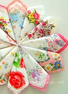 Pack of vintage inspired floral hankerchiefs.