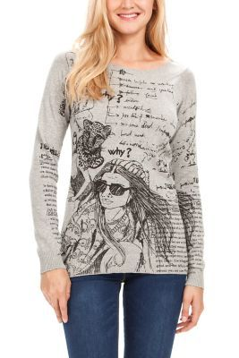 Desigual women's Julemí jumper. A long sleeved, boat neck jumper with a fabulous print. You'll turn heads this season.