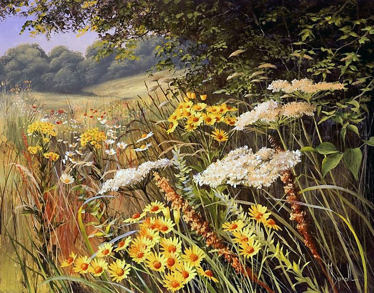 Mary Dipnall - her wildflowers are great!  I would mask them all out and glaze colors in around them, then slowly attack each flower mass.  Wonderful composition.