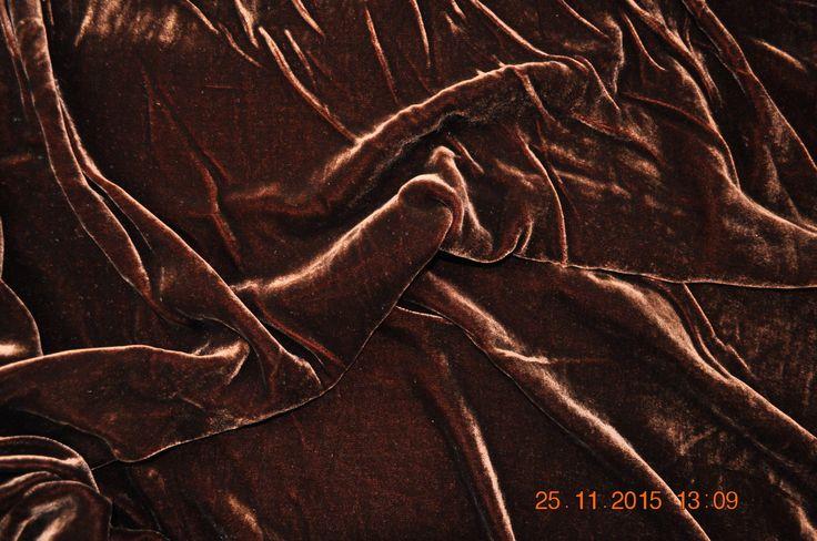 Silk/viscose velvet, 114 cm wide, brown, by half meter   eBay