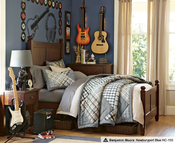 Guitars and records as art in a kids room from pottery barn. This would be something for our oldest son, guitars and music.