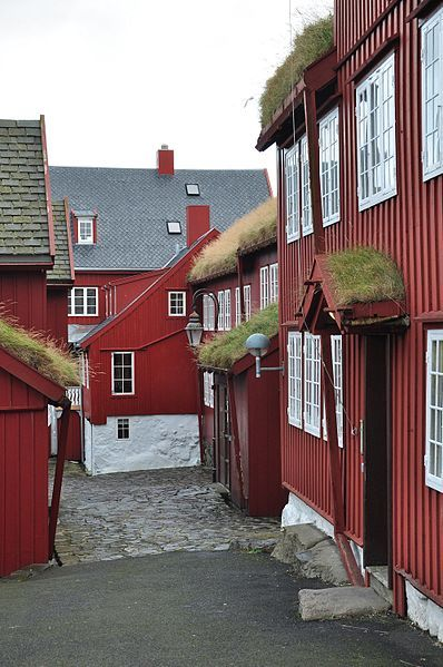 In the narrow alleys of the Tinganes peninsula, Tórshavn, centre