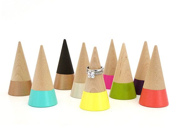 Ring cone unique ring storage painted wood decor by paragraphloop