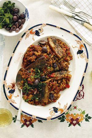 Spanish rice with pork rashers Yum!!