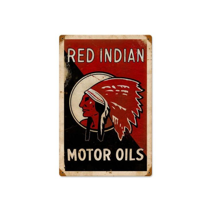 Red Indian Motor Oil vintage style advertising heavy gauge metal sign, home decor gas oil garage wall art, FREE Shipping by HomeDecorGarageArt on Etsy