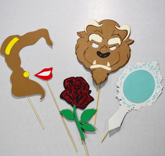 Beauty and the Beast photo booth props 5 piece disney