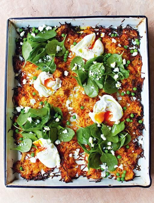 Jamie Oliver Giant Veg Rosti - I love this with grated sweet potato and zucchini, in addition to regular potatoes and carrot! A great way to use up sad fridge veg at the end of the week.