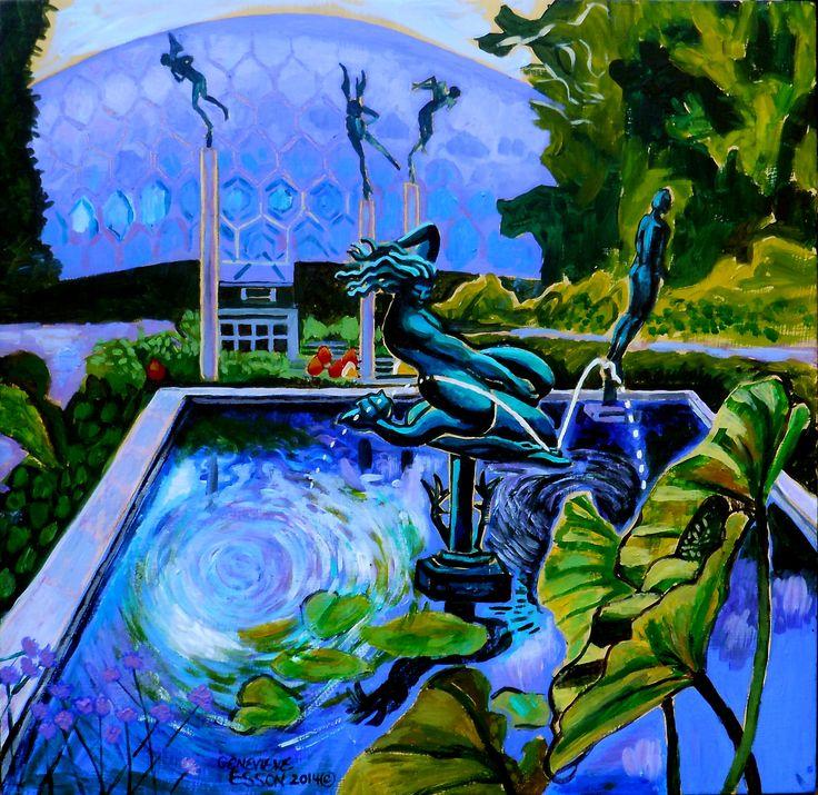 "For Sale: Sun Glitter Mermaid At The Missouri Botanical Garden by Genevieve Esson   $300   18""w 18""h   Original Art   https://www.vangoart.co/genevieveessonart/sun-glitter-mermaid-at-the-missouri-botanical-garden @VangoArt"