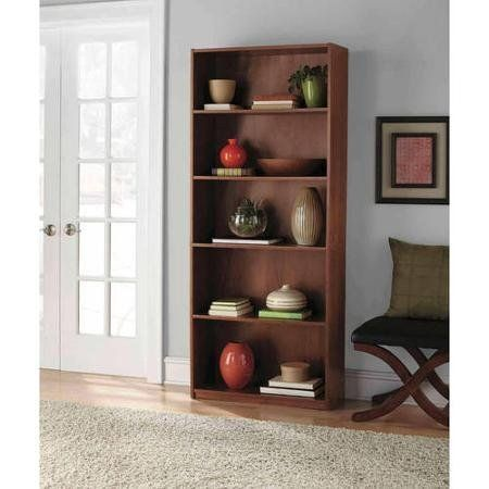 Mainstays 5Shelf Wood Bookcase Brown  Particle Board Construction with Paper Lamination