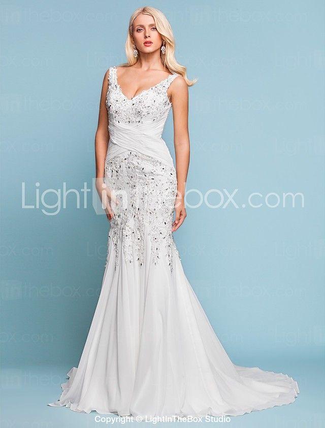 Lanting Bride® Trumpet / Mermaid Petite / Plus Sizes Wedding Dress - Chic & Modern / Elegant & LuxuriousSparkle & Shine / Vintage 2016 - $159.99