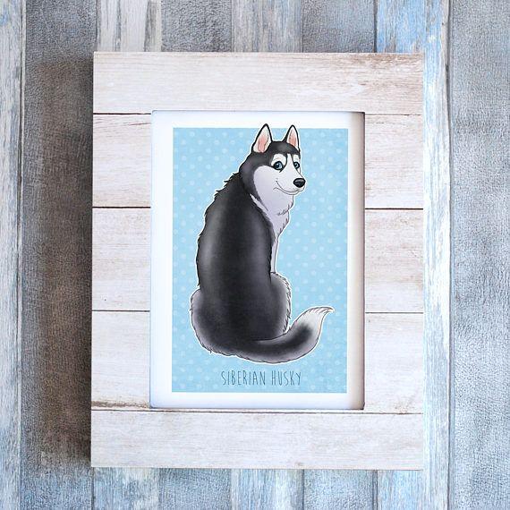 Wall Art Siberische Husky afbeelding afdrukken