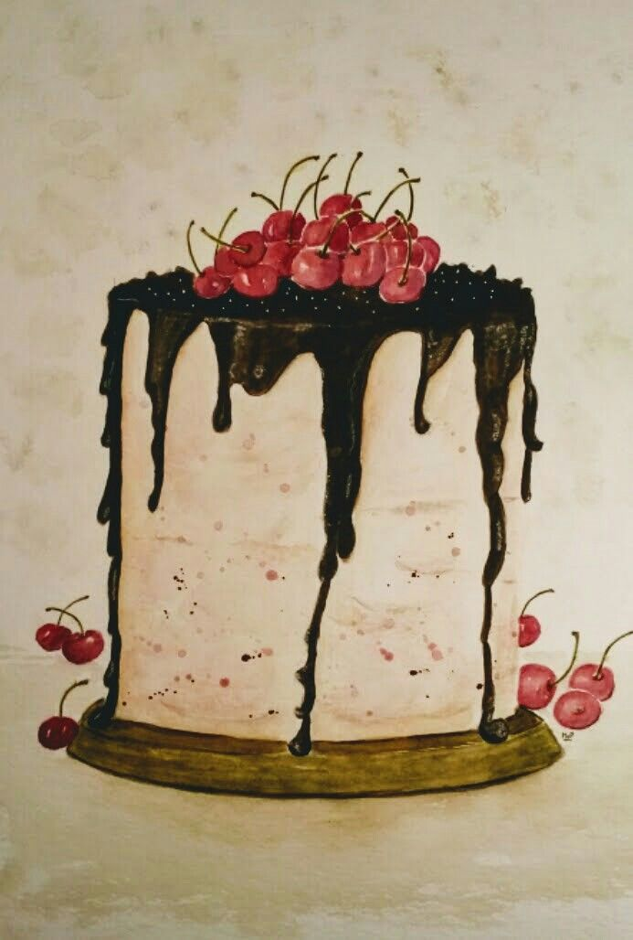 Cherry chocolade  cake Available in my Etsystore
