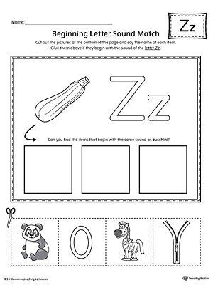 Letter Z Beginning Sound Picture Match Worksheet | Phonics ...
