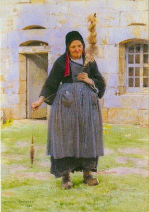 Carte postale Vieille fileuse bretonne à Saint-Nicodème aucune Maurice Renders Carte postale 0.75€ Musée du Faouet