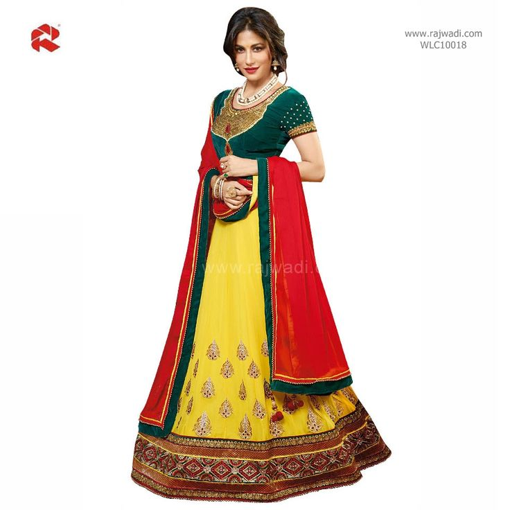 Chitrangada Singh in Yellow, Teal & Red coloured Lehenga Choli #FeelRoyal #chitrangadasingh #yellow #green #lehengacholi #rajwadi