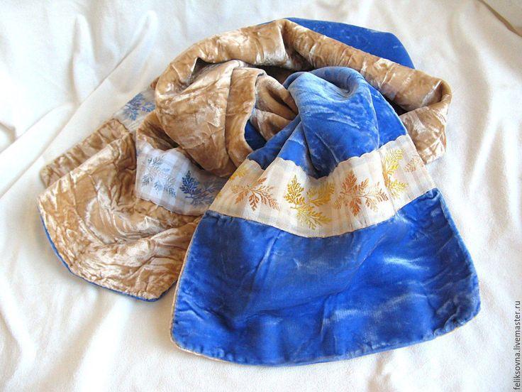 """Купить Шарф бархатный """"Снегурочка"""". Винтаж, Индия,80-90г.г. - комбинированный, шарф женский"""