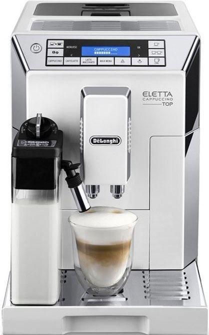 DeLonghi Eletta Cappuccino Top ECAM 45.760.W  DeLonghi Eletta Cappuccino Top ECAM45.760.W: Inclusief LatteCrema System en de mogelijkheid om je koffie te personaliseren Ben jij ook zo gek op een Flat White of een Espresso Macchiato? Of houd je gewoon van heerlijke koffie met melk? Danis deze DeLonghi Eletta Cappuccino Top ECAM45.760.W zeker een aanrader. Hij is voorzien van het gepatenteerde LatteCrema Systeem. Dit is een exclusief automatischcappuccinosysteem die de heerlijkste cappuccino…