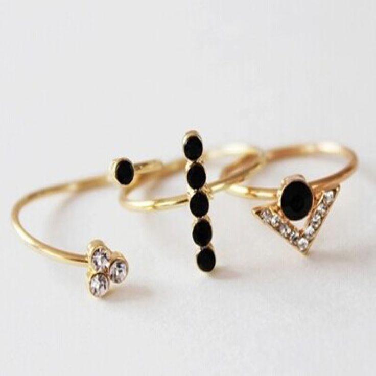 New fashion jewelry rhinestone arrow midi finger ring 1set=3pieces gift for women girl R1417