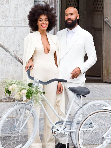 The star tied the knot with longtime love Alan Ferguson. Solange Knowles beautiful #white #wedding look. Congrats!