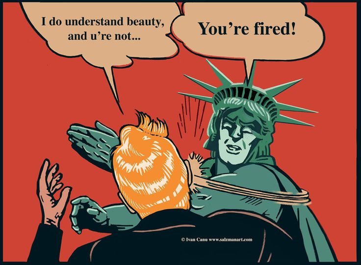 "© Ivan Canu #salzmanart.com I shared this version of ""Batman slaps Robin"" as Liberty slaps Trump, enjoying Francoise Mouly invitation to artists to spread RESIST! to the site www.resistsubmission.com. #editorial #comics #trump #election2016 #politics #liberty #slap #illustration #digitalart"