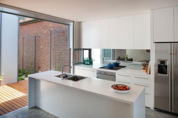 Modern kitchen featuring an adjacent open deck and sliding doors…do an overhead door or nanawall