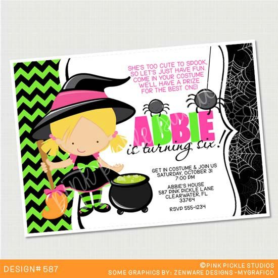 Witch Halloween Birthday Invitation or Thank You Card. Custom Personalized DIY Party Printables / Design No. 587