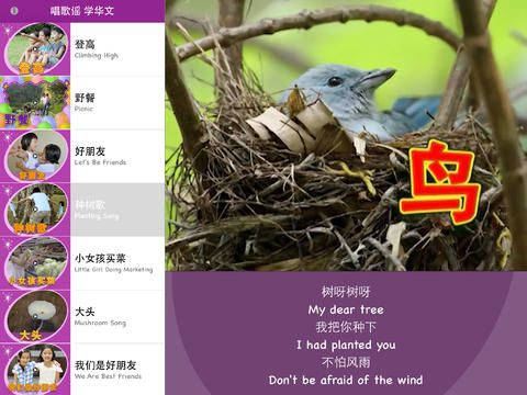 Sing to Learn Chinese 6 helps your child to learn Chinese words and phrases through many catchy Chinese children rhymes!  • 登高 Climbing High • 野餐 Picnic • 好朋友 Let's Be Friends • 种树歌 Planting Song • 小女孩买菜 Little Girl Doing Marketing • 大头 Mushroom Song • 我们是好朋友 We Are Best Friends