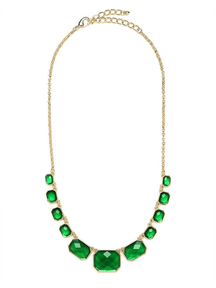 There's a reason Elizabeth Taylor loved her emeralds — the gem is absolutely mesmerizing and dazzling. And with this stunning necklace, which features a whole strand of emerald-like beauties, you won't even have to break the bank.