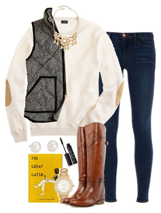 """""""New England~"""" by the-preps ❤ liked on Polyvore featuring J Brand, J.Crew, Kate Spade, Frye, NARS Cosmetics and Blue Nile"""