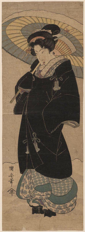 Utagawa KuniyasuTitle:Woman with Black Coat and Umbrella Walking in Snow