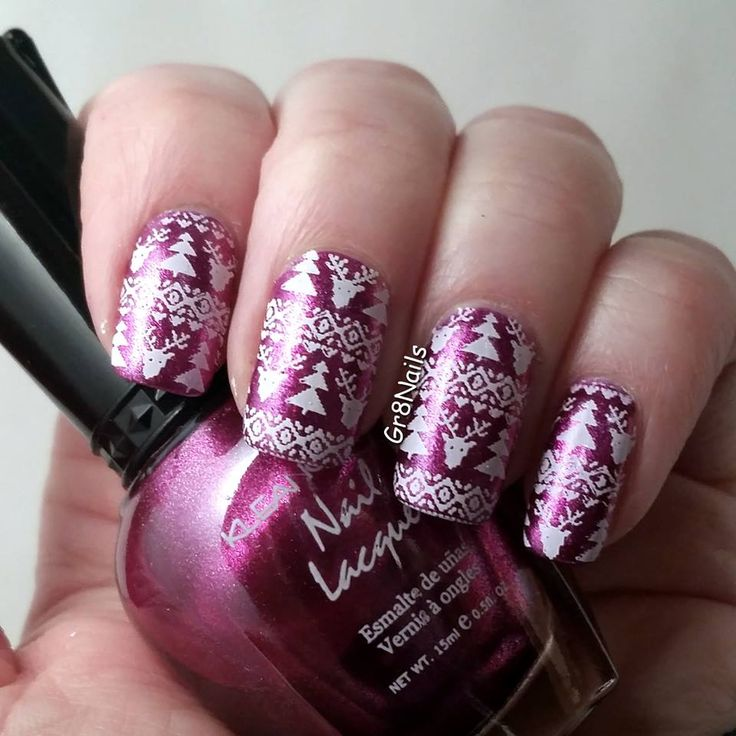 UberChic Christmas-01 stamping plate.  Polish is Metallic Fuschia by Klean Colors