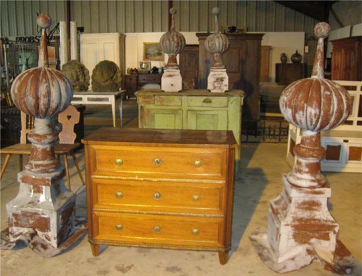 7 Year Anniversary Sale SOLD Antique French Rare Set Of Four Pumpkin Shaped  Zinc Roof Finials. 2 Tall Finials: X 2 Short Finials: X