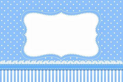 Poá Azul e Listras – Kit Completo com molduras para convites, rótulos para guloseimas, lembrancinhas e imagens!  Fazendo a Nossa Festa
