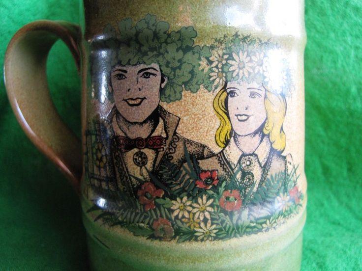 Vintage Latvia Riga large beer Mug Holiday LIGO National symbols craquelure rare