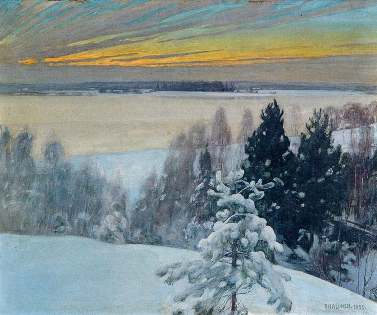 Talvinen Iltarusko, 1899, The Life and Art of Pekka Halonen - from http://www.alternativefinland.com/art-pekka-halonen/