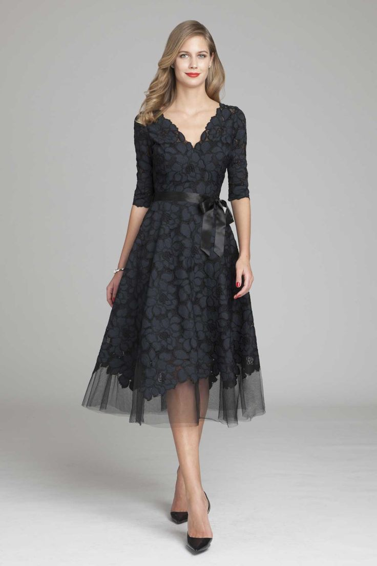 3/4 Sleeve Lace and Tulle Fit and Flare Dress | Tea length ...