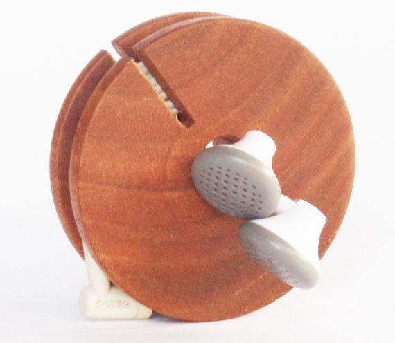 wooden earphone holder, wood cord organizer, wooden cord holder, wooden earbud…